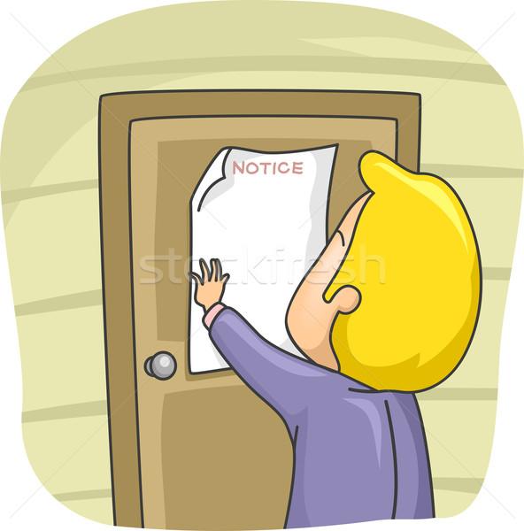 Férfi posta ház figyelmeztetés illusztráció ajtó Stock fotó © lenm