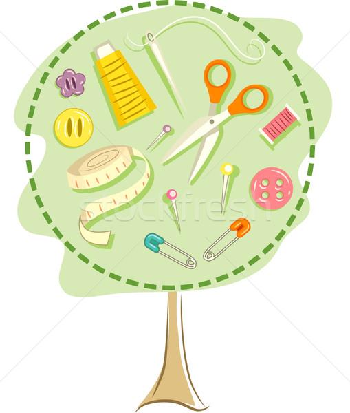 швейных дерево иллюстрация кадр различный инструменты Сток-фото © lenm
