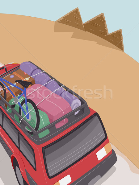 Egipt piramidy wycieczka ilustracja suv pełny Zdjęcia stock © lenm