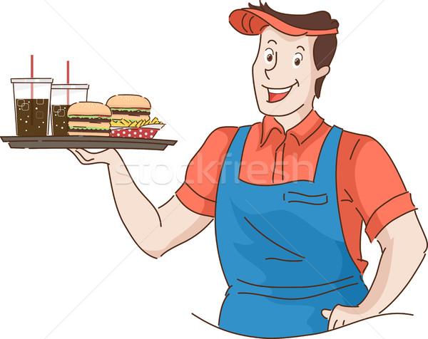 Homem retro garçom fast-food bandeja Foto stock © lenm