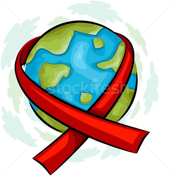 Világ AIDS tudatosság ikon illusztráció földgömb Stock fotó © lenm