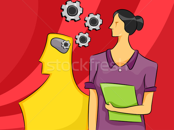 Psychologie femme cartoon illustration esprit engins Photo stock © lenm