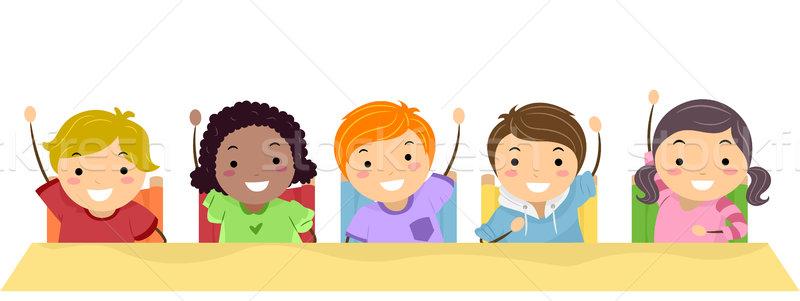 Kids Raising Their Hands Stock photo © lenm