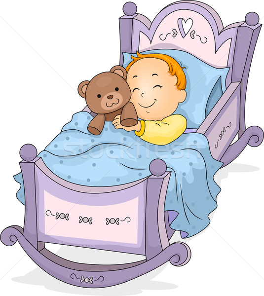 Baby Boy on Cradle Stock photo © lenm