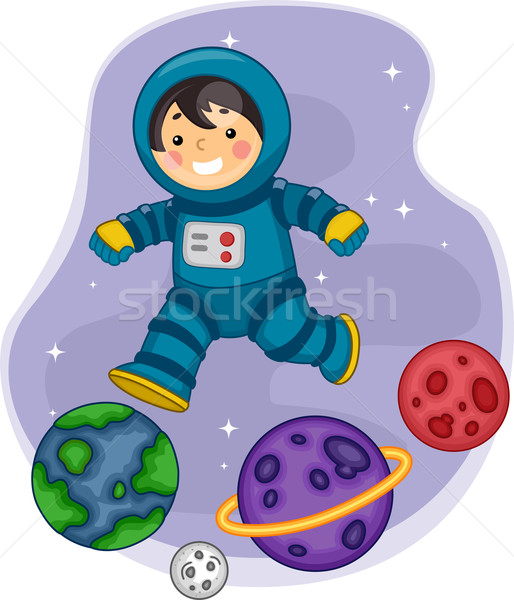 Astronaut Boy Jumping on Planets Stock photo © lenm