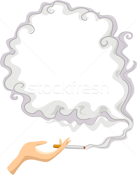 Cigarette with Smoke Frame Background Stock photo © lenm