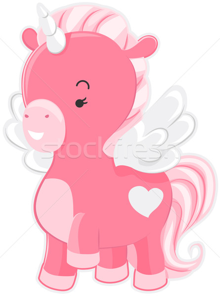 Cute Pink Unicorn Stock photo © lenm