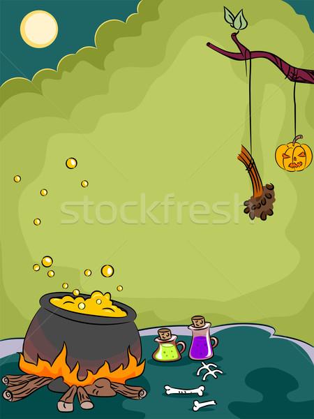 Halloween üst illusztráció terv háttér ünnep Stock fotó © lenm