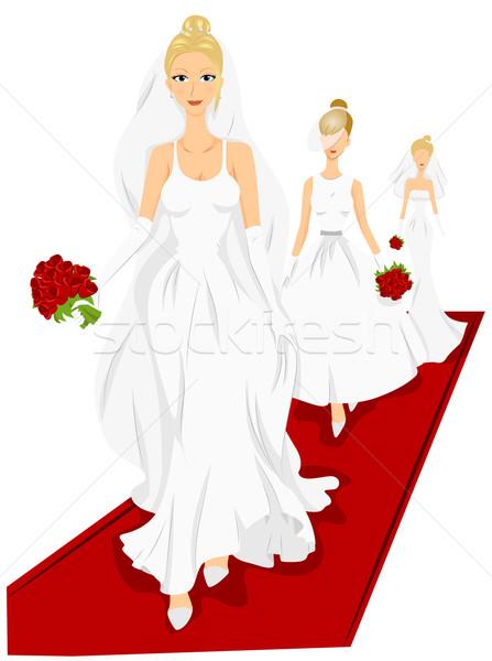 Robe de mariée modèles sophistiqué blanche mariage marche Photo stock © lenm