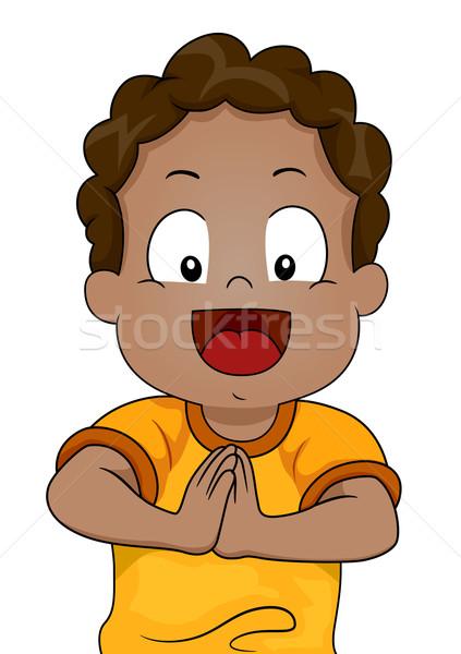 Védőbeszéd fiú illusztráció fiatal kezek együtt Stock fotó © lenm