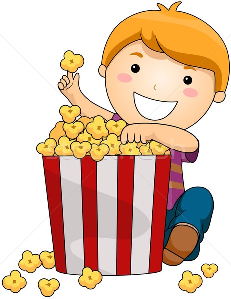 Fiú pattogatott kukorica vágási körvonal mozi gyerek fiatal Stock fotó © lenm