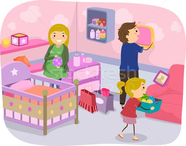 Család faiskola dekoráció illusztráció szoba együtt Stock fotó © lenm