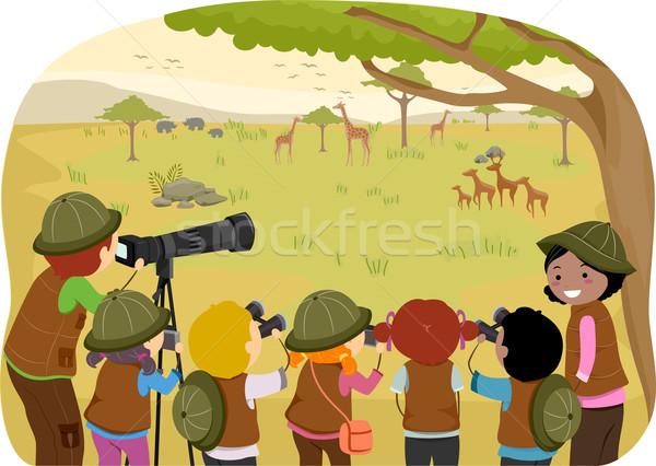 Klasse safari illustratie kinderen vrouw Stockfoto © lenm