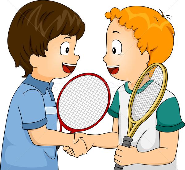 Sprawność sportowa handshake ilustracja młodych tenis gracze Zdjęcia stock © lenm