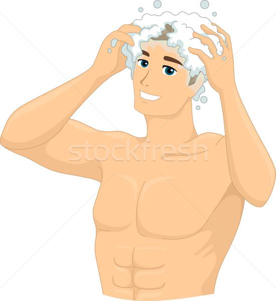 Sampon férfi illusztráció fürdőkád férfi életstílus Stock fotó © lenm