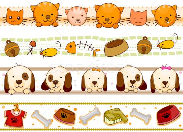 Huisdier vier grens ontwerpen huisdieren Stockfoto © lenm