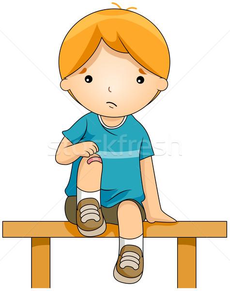 Knie Illustration kid Junge Unfall neu Stock foto © lenm