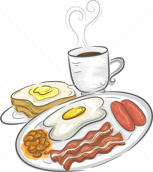 Сток-фото: завтрак · еды · иллюстрация · полный · кофе · яйца