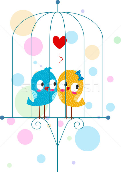 Lovebirds in a Cage Stock photo © lenm