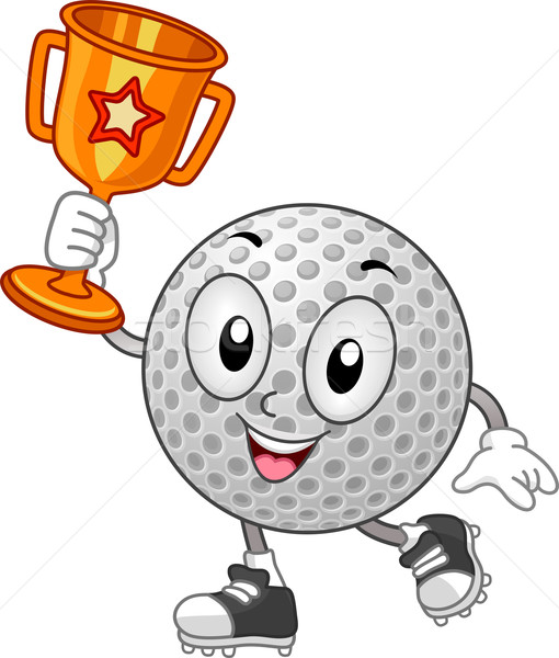 Mascot Golf Ball Trophy Vector Illustration C Lenm 6584026 Stockfresh