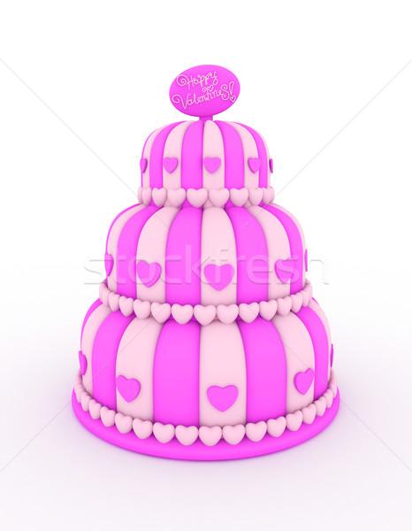 Valentin gâteau 3d illustration haut dessert Photo stock © lenm