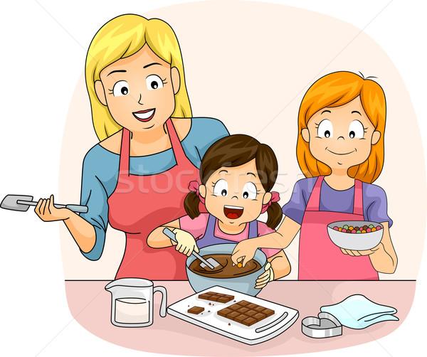 Stock photo: Kids Girls Teacher Make Chocolate