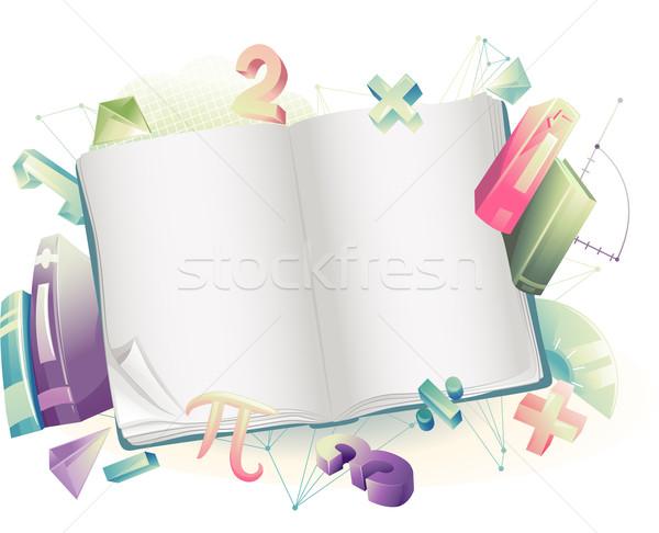 Foto stock: Libro · abierto · matemáticas · ilustración · matemático · símbolos · marco