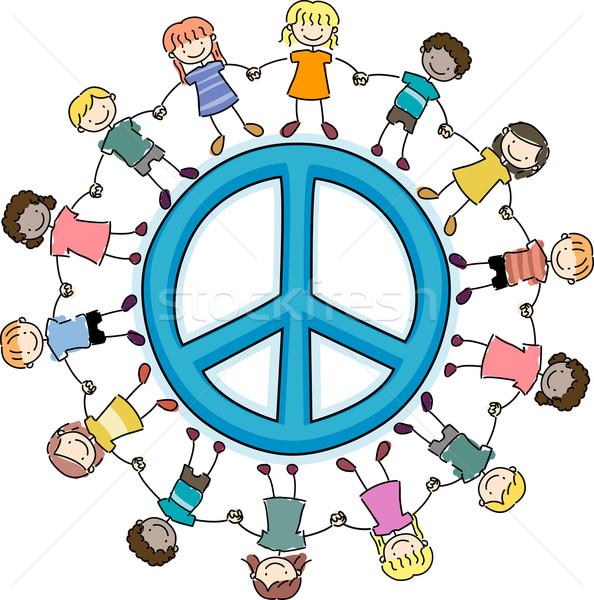 Kids Surrounding a Peace Sign Stock photo © lenm