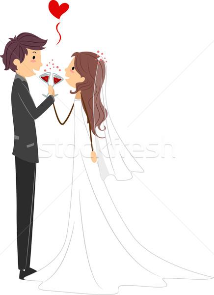 Dessin Couple Mariage Couleur : mariage toast illustration fille photo stock ~ Melissatoandfro.com Idées de Décoration