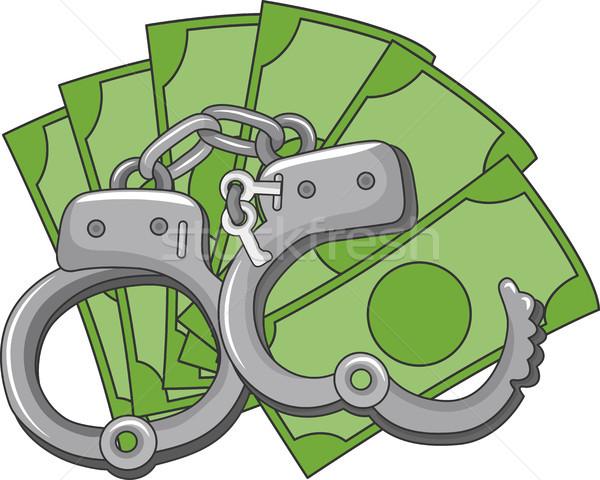 Geld hand bedrog illustratie paar handboeien Stockfoto © lenm