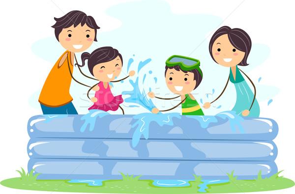 Inflável piscina ilustração família jogar homem Foto stock © lenm