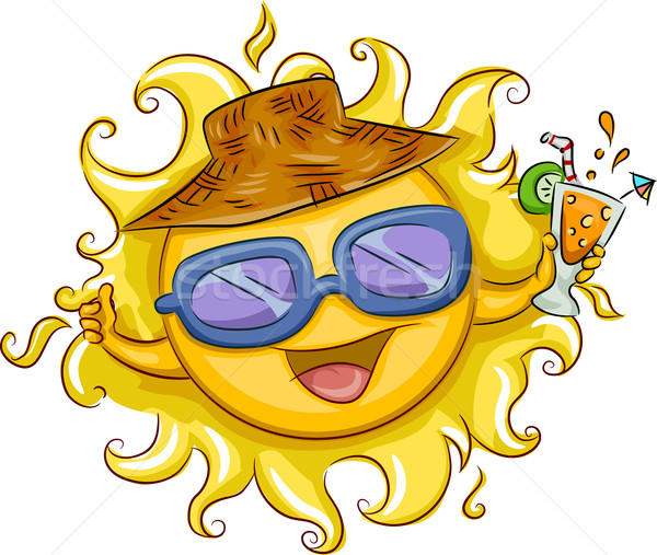 夏 実例 太陽 ドリンク 帽子 ストックフォト © lenm
