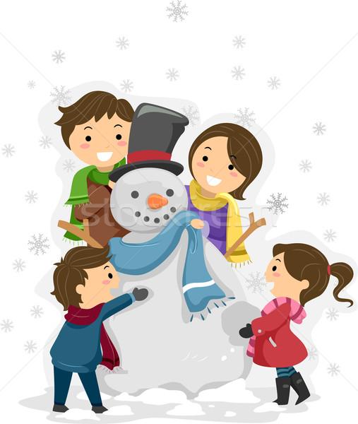 Sneeuwpop familie illustratie spelen vrouw man Stockfoto © lenm