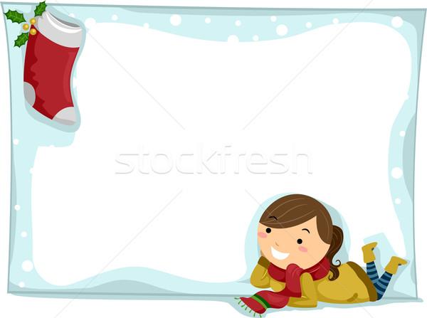 Karácsony harisnya illusztráció lány bámul terv Stock fotó © lenm