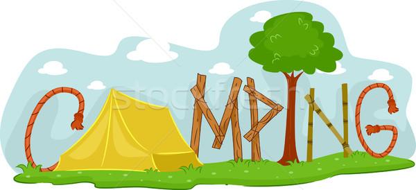 Camping illustratie boom tent avontuur kamp Stockfoto © lenm