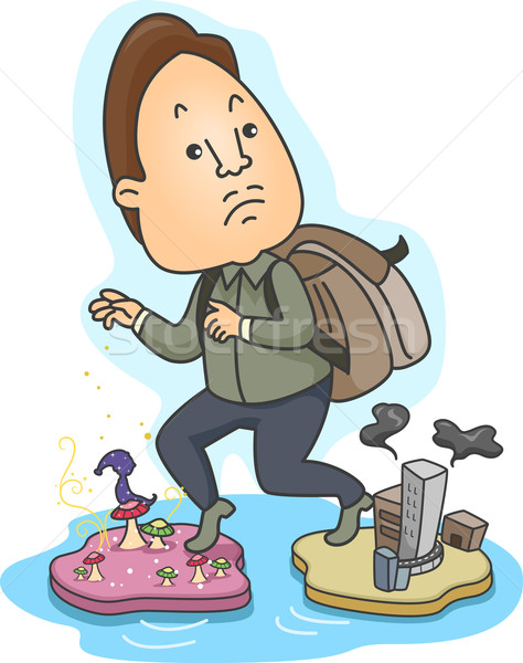 Rzeczywistość ilustracja człowiek cartoon mężczyzna fantasy Zdjęcia stock © lenm