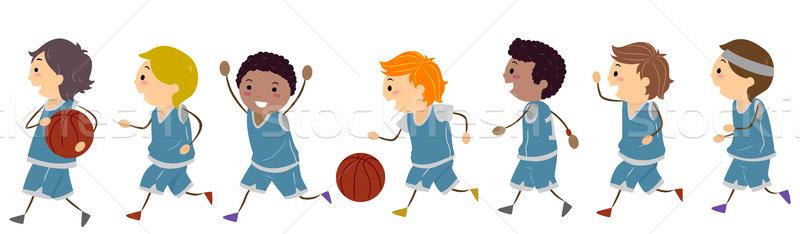 Сток-фото: баскетбол · дети · иллюстрация · играть · спорт · команда