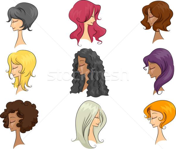 Próbababa hajviselet illusztráció különböző hajstílusok nő Stock fotó © lenm