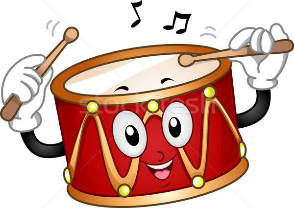 Drum maskotka ilustracja szczęśliwy muzyki wektora Zdjęcia stock © lenm