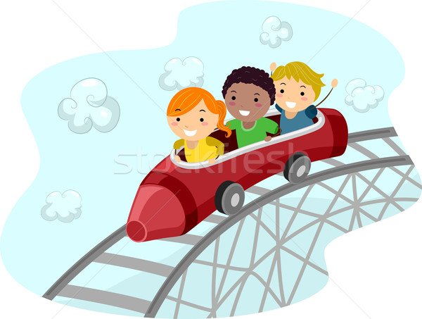 Montanha-russa crayon ilustração crianças equitação Foto stock © lenm
