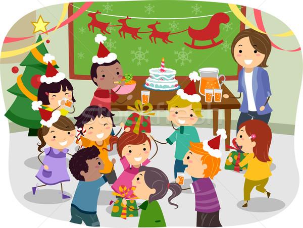 Gyerekek iskola karácsony buli illusztráció lány Stock fotó © lenm