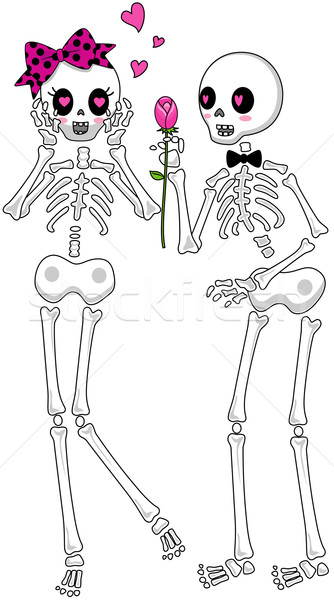 Csontváz fiú lány virág vágási körvonal rózsa Stock fotó © lenm