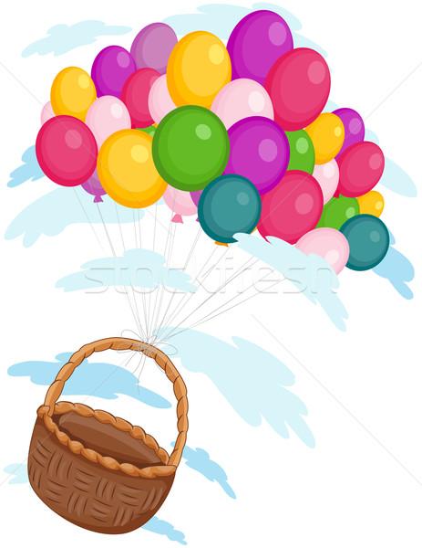 Ballons panier réalisée loin ciel Photo stock © lenm