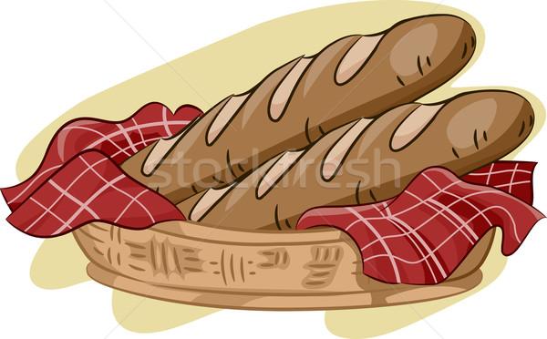 Francia kenyér illusztráció kosár étel rajz diéta Stock fotó © lenm