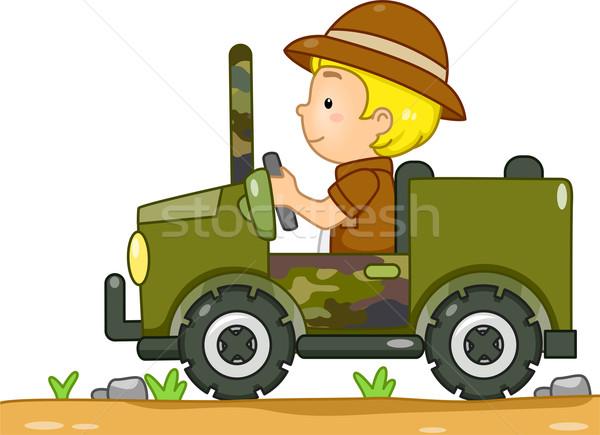 Szafari dzsip illusztráció fiú vezetés álca Stock fotó © lenm