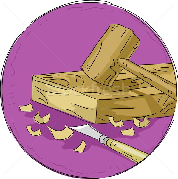 Woodwork Icon Stock photo © lenm