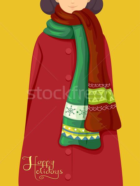Férias cachecol ilustração menina inverno Foto stock © lenm