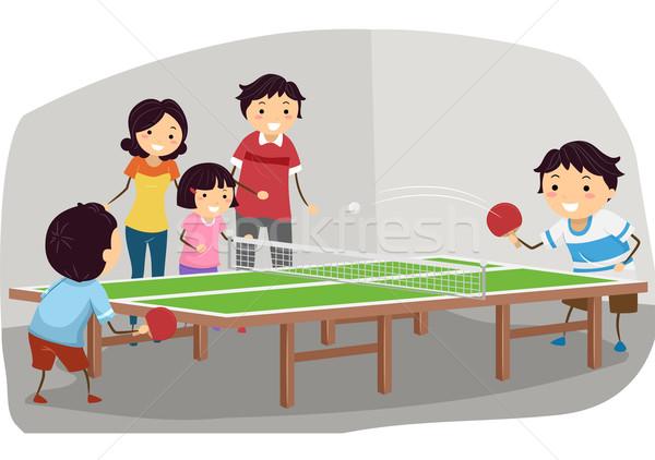 Masa tenisi aile örnek oynama adam çocuklar Stok fotoğraf © lenm