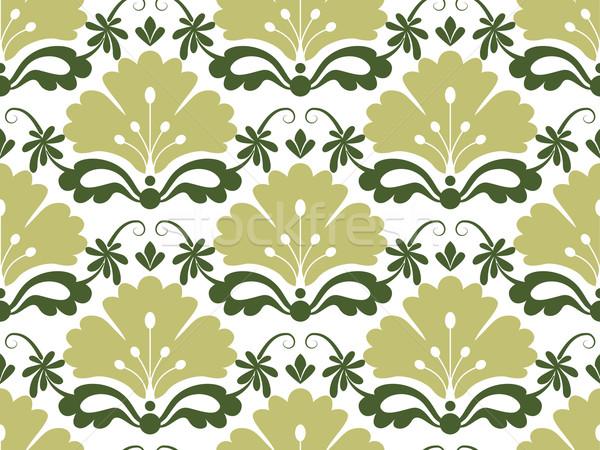 Végtelenített damaszt minta virág absztrakt zöld Stock fotó © lenm