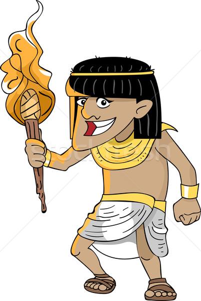 Egipcio antorcha ilustración hombre luz Foto stock © lenm